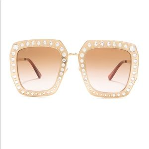 NEW Gucci Crystal Gold Frame Sunglasses